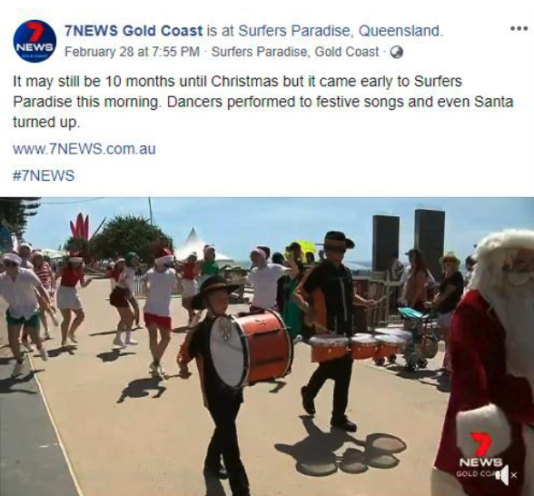 "Channel 7, ""Christmas Came Early to Surfers Paradise this morning"""